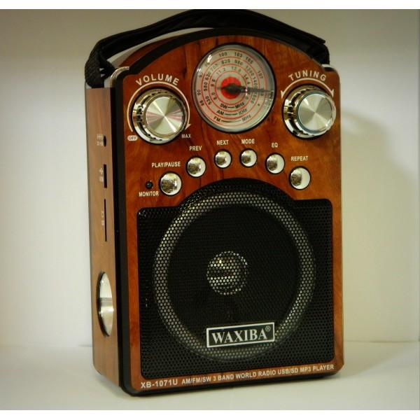Radio Waxiba XB1071U cu lanterna, slot SD, USB