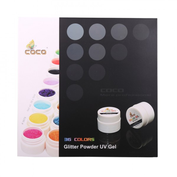 Set geluri color Coco 36 culori Glitter Powder