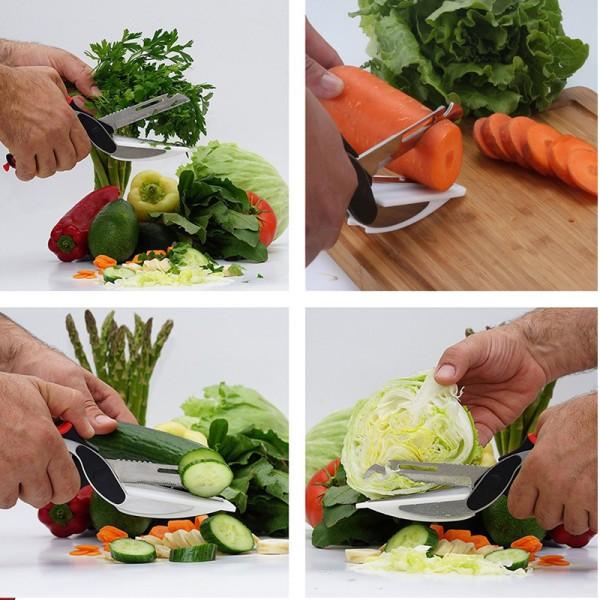 Cutit de bucatarie multifunctional Smart Cutter 2 in 1