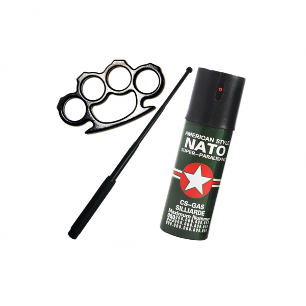 Kit autoaparare box metalic, spray nato, baston telescopic
