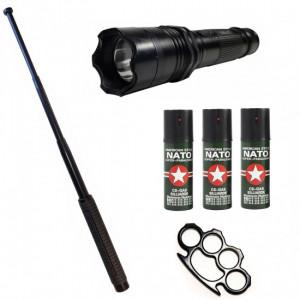 KIT autoaparare (2in1 Electrosoc+Lanterna ) Baston telescopic Police 50 cm +3 Spray Paralizant + Box metalic