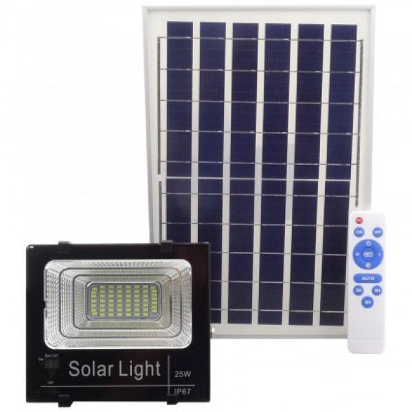 Proiector 25W cu panou solar si telecomanda cu functii multiple
