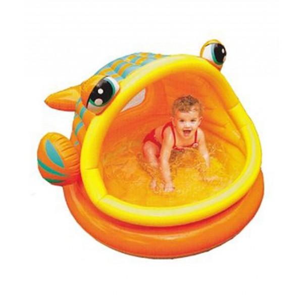 Piscina gonflabila lazy fish pentru copii for Intex pool koi pond
